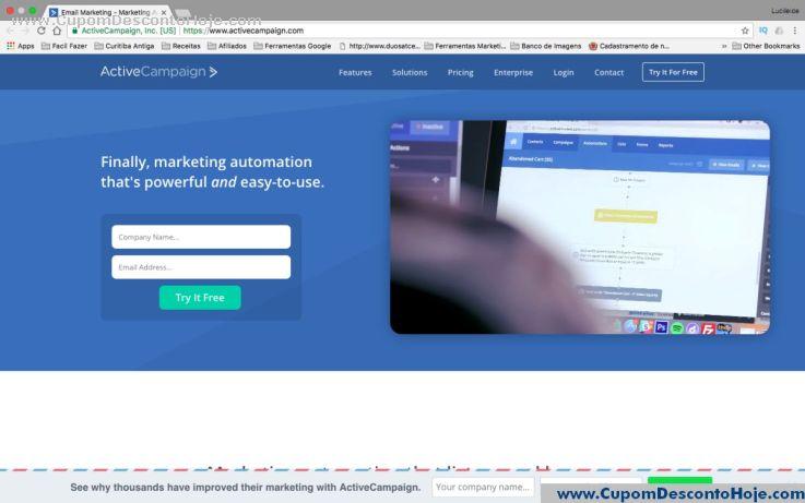 Loja Virtual - Cupom Desconto ActiveCampaign