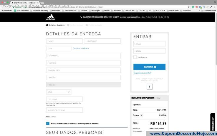 CheckOut da Loja Virtual - Cupom Desconto Adidas