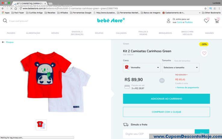 CheckOut da Loja Virtual - Cupom Desconto Bebe Store