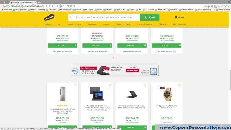 CheckOut da Loja Virtual - Cupom Desconto Buscape