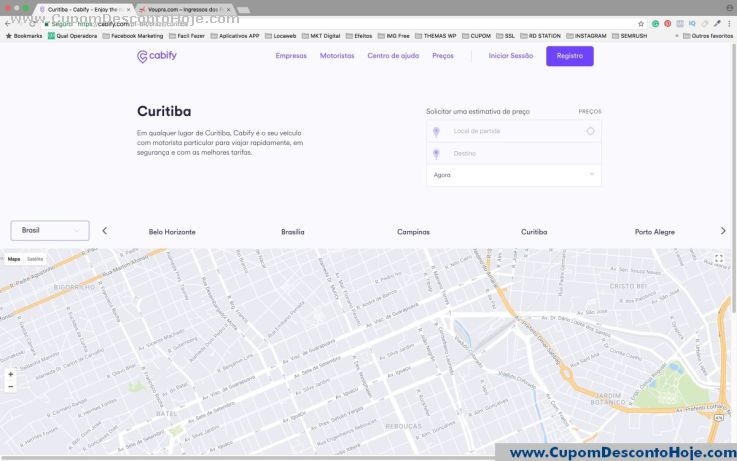 CheckOut da Loja Virtual - Cupom Desconto Cabify