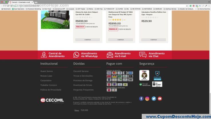CheckOut da Loja Virtual - Cupom Desconto Cecomil