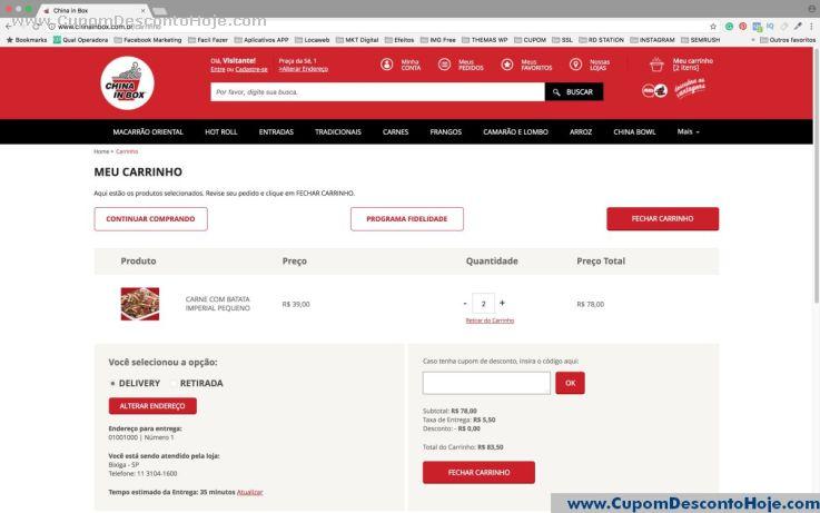 CheckOut da Loja Virtual - Cupom Desconto China in box