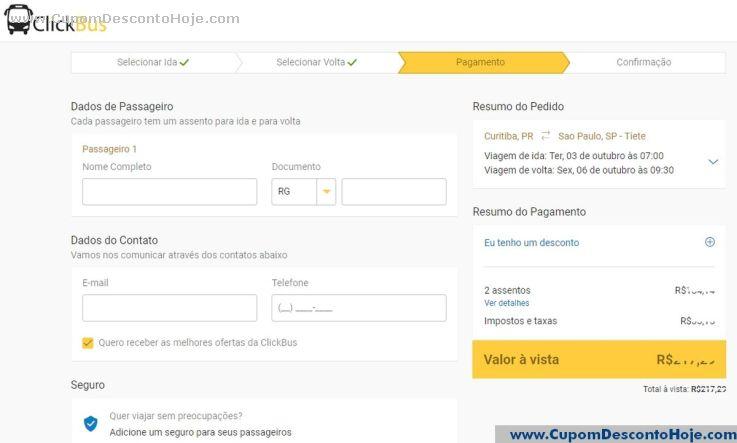 CheckOut da Loja Virtual - Cupom Desconto ClickBus