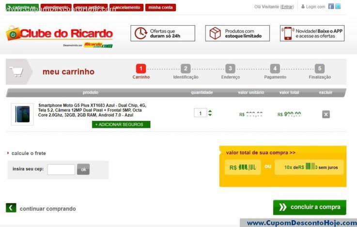 CheckOut da Loja Virtual Clube do Ricardo