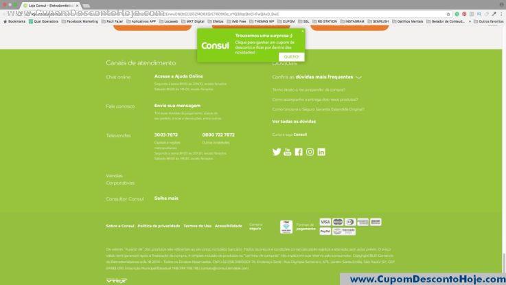 CheckOut da Loja Virtual - Cupom Desconto Consul