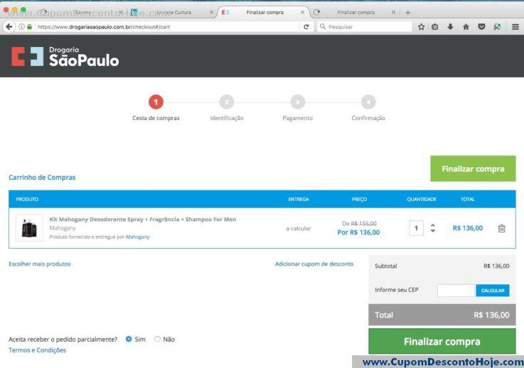CheckOut da Loja Virtual - Cupom Desconto Drogaria Sao Paulo