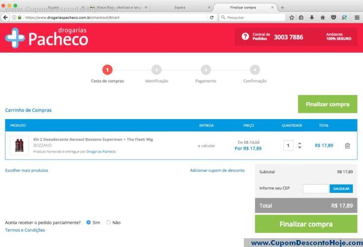 CheckOut da Loja Virtual - Cupom Desconto Drogarias Pacheco