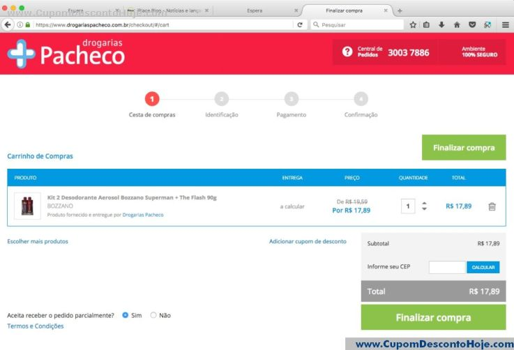 CheckOut da Loja Virtual Drogarias Pacheco
