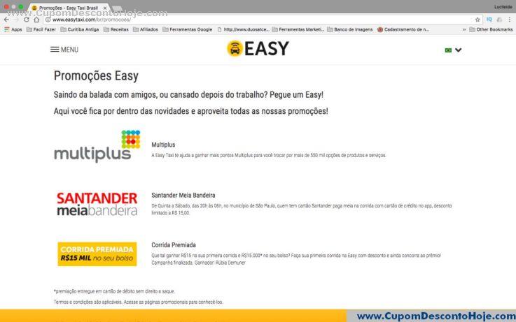 Cupom Desconto da Loja Virtual Easy Taxi