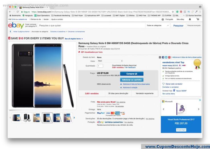 CheckOut da Loja Virtual - Cupom Desconto Ebay
