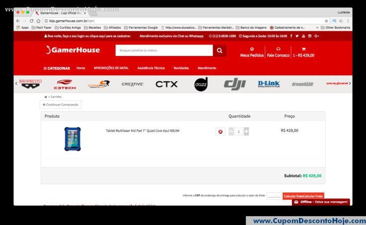 CheckOut da Loja Virtual - Cupom Desconto GamerHouse Shop