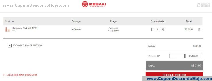 CheckOut da Loja Virtual - Cupom Desconto Ikesaki
