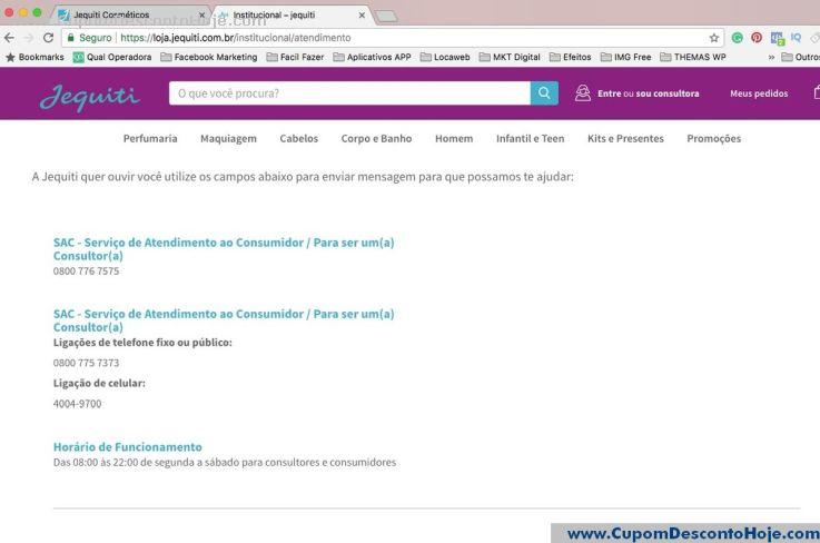 CheckOut da Loja Virtual - Cupom Desconto Jequiti