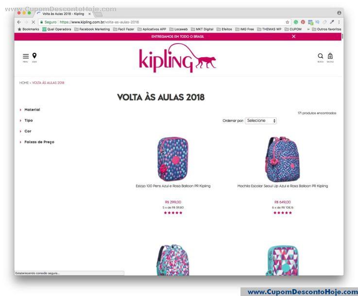 CheckOut da Loja Virtual - Cupom Desconto Kipling