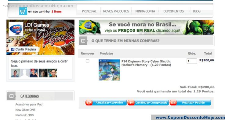 CheckOut da Loja Virtual LDI Games