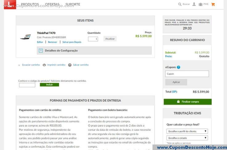 CheckOut da Loja Virtual Lenovo Brasil