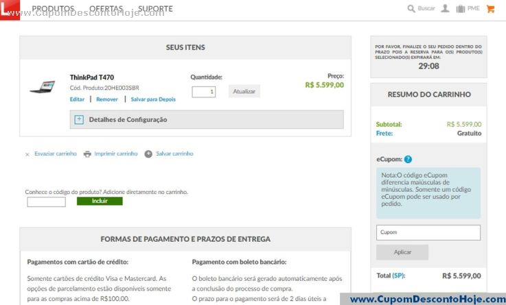 Cupom Desconto da Loja Virtual Lenovo Brasil