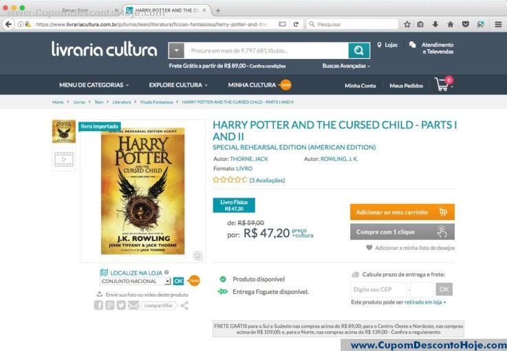 CheckOut da Loja Virtual Livraria Cultura
