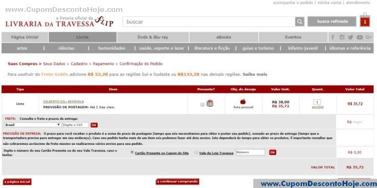 CheckOut da Loja Virtual Livraria da Travessa