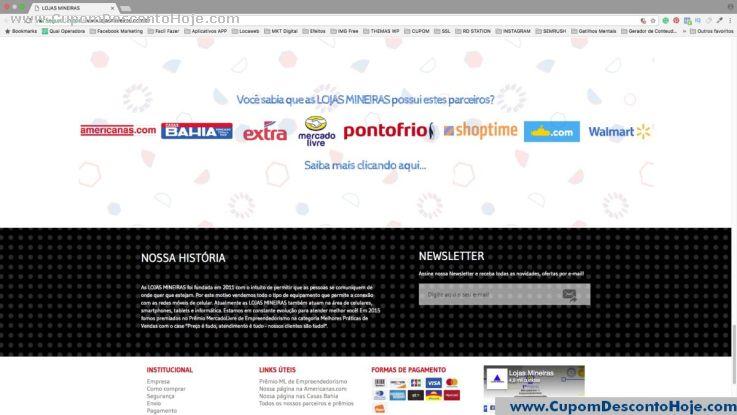 CheckOut da Loja Virtual - Cupom Desconto Lojas Mineiras
