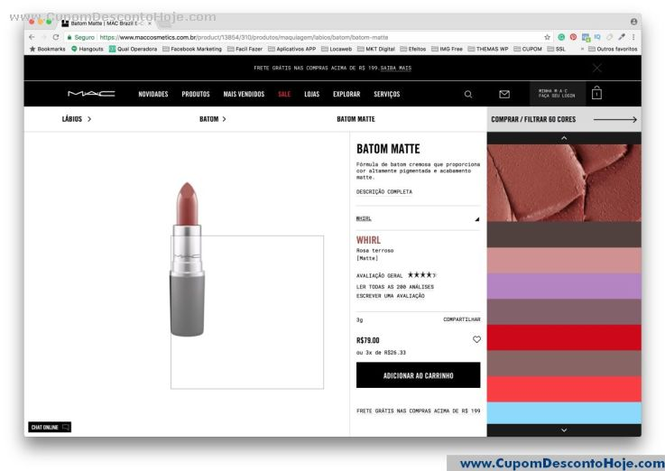 CheckOut da Loja Virtual Mac Cosmetics