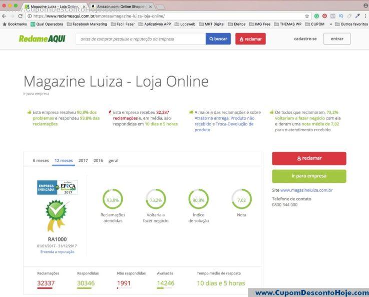 Reclame Aqui da Loja Magazine Luiza