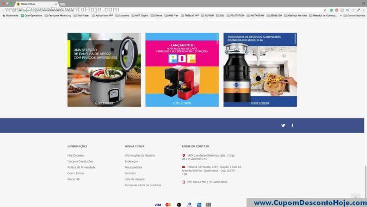 CheckOut da Loja Virtual - Cupom Desconto Mania Virtual