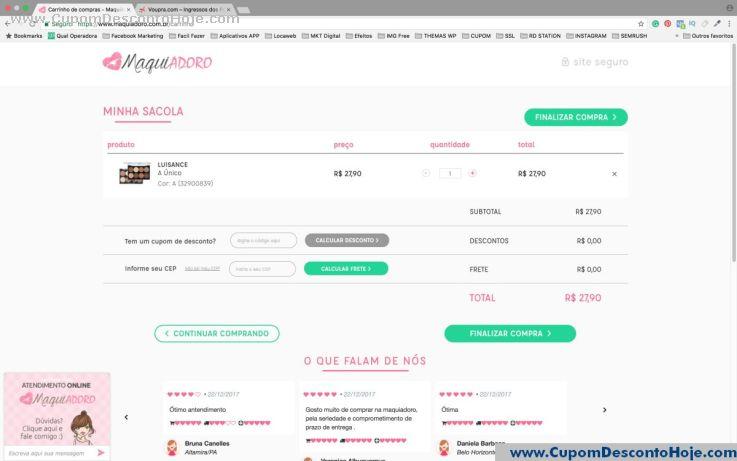 CheckOut da Loja Virtual - Cupom Desconto Maquiadoro
