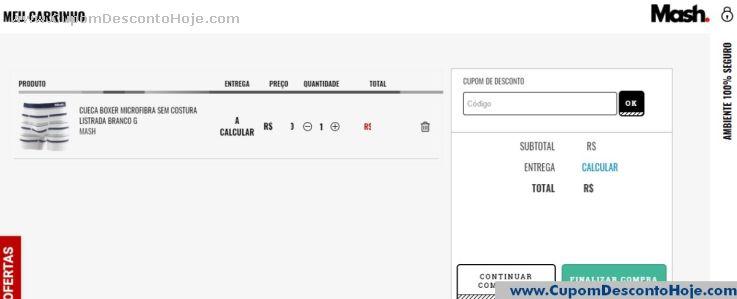 CheckOut da Loja Virtual - Cupom Desconto Mash