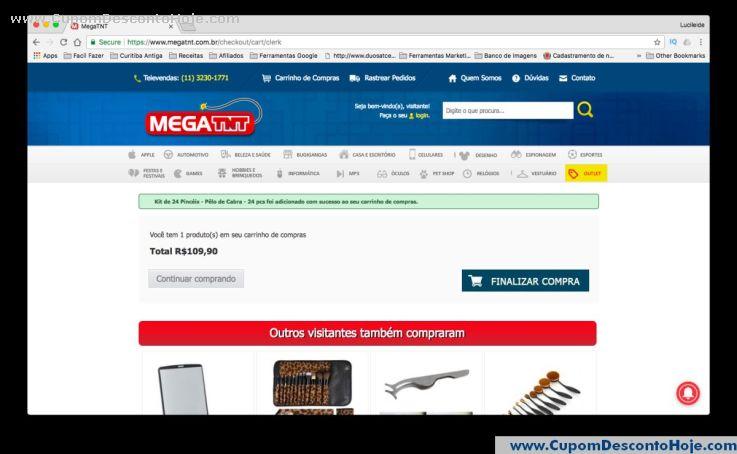 CheckOut da Loja Virtual - Cupom Desconto Mega TNT