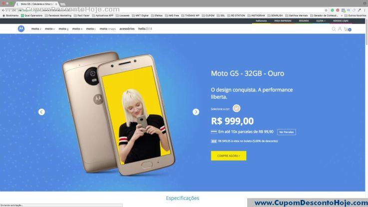 CheckOut da Loja Virtual - Cupom Desconto Motorola