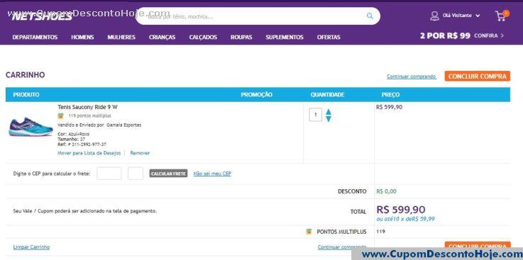 CheckOut da Loja Virtual - Cupom Desconto Netshoes