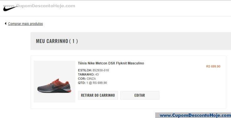 CheckOut da Loja Virtual - Cupom Desconto Nike