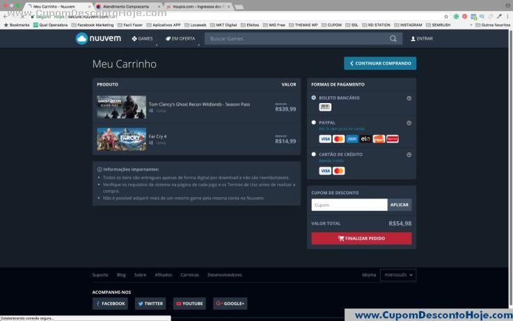 CheckOut da Loja Virtual - Cupom Desconto Nuuvem