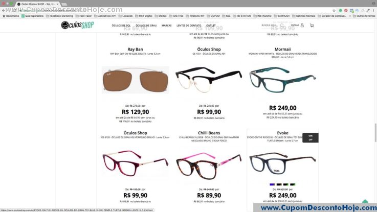 Cupom Desconto da Loja Virtual Óculos Shop