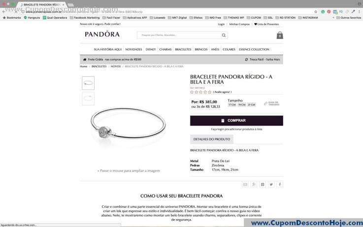 CheckOut da Loja Virtual - Cupom Desconto Pandora