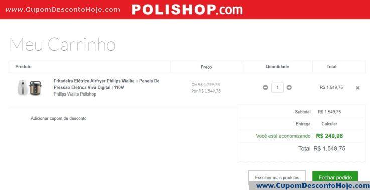 CheckOut da Loja Virtual - Cupom Desconto Polishop