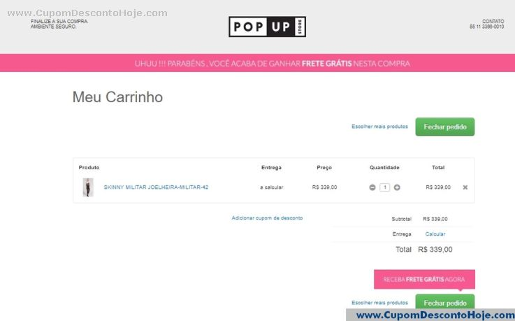 CheckOut da Loja Virtual Pop Up
