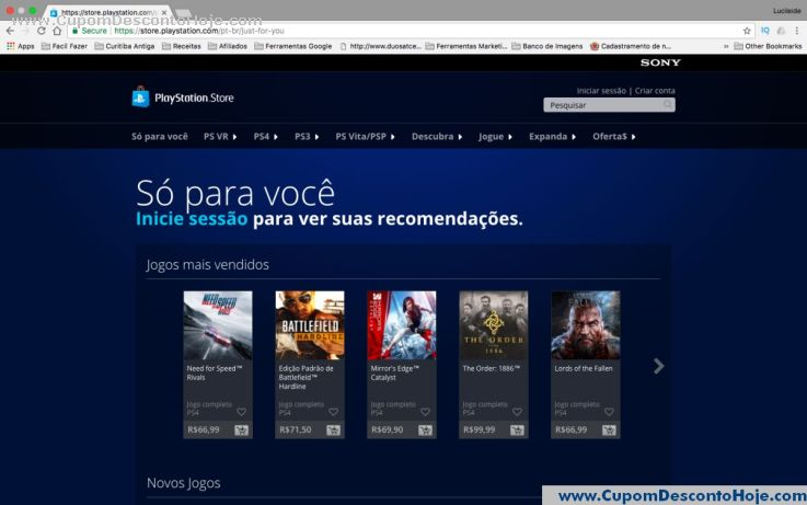 CheckOut da Loja Virtual - Cupom Desconto PSN
