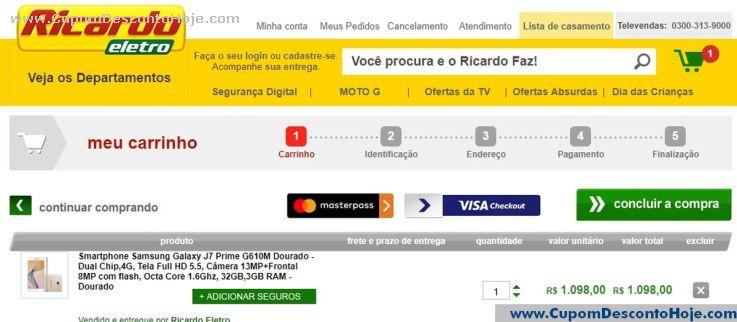 CheckOut da Loja Virtual Ricardo Eletro