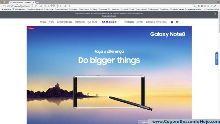 CheckOut da Loja Virtual - Cupom Desconto Samsung