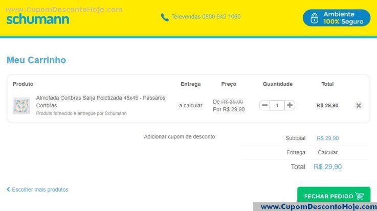 CheckOut da Loja Virtual - Cupom Desconto Schumann