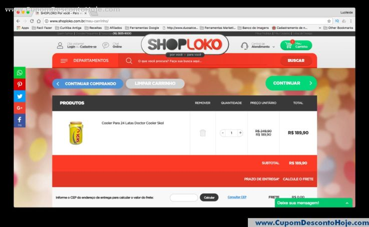 CheckOut da Loja Virtual - Cupom Desconto Shoploko