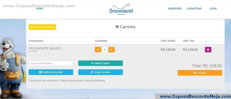 CheckOut da Loja Virtual Snowland