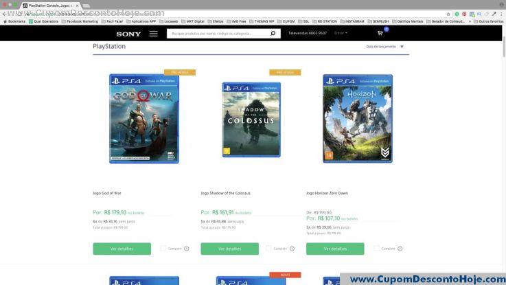 CheckOut da Loja Virtual - Cupom Desconto Sony
