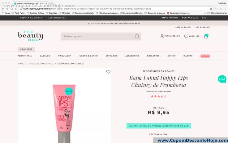 CheckOut da Loja Virtual - Cupom Desconto The Beauty Box