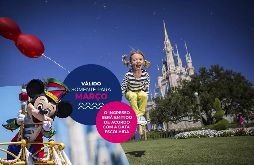 Cupom Desconto 3 dias em Março Ingressos para Walt Disney World Resort